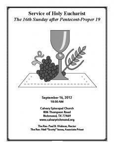 Proper 19B_1030am - Calvary Episcopal Church