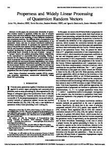 Properness and Widely Linear Processing of ... - COMONSENS