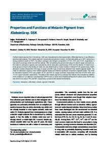 Properties and Functions of Melanin Pigment from