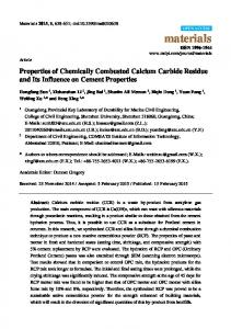 Properties of Chemically Combusted Calcium Carbide ... - MDPI