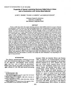 Properties of Equine Luteinizing Hormone Alpha Subunit Alone and in ...