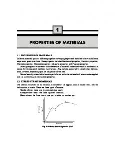 PROPERTIES OF MATERIALS - New Age International