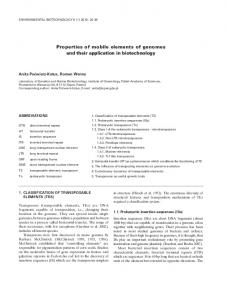 Properties of mobile elements of genomes and their application in ...