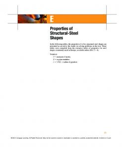 Properties of Structural-Steel Shapes - Cengage Learning