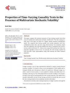 Properties of Time-Varying Causality Tests in the Presence of ...