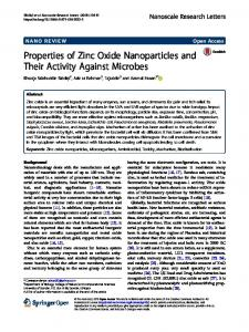 Properties of Zinc Oxide Nanoparticles and Their