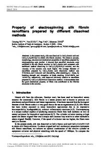 Property of electrospinning silk fibroin ... - MATEC Web of Conferences