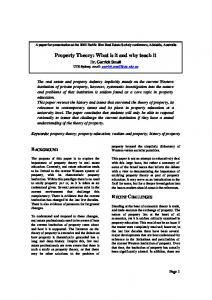 Property Theory: What is it and why teach it - PRRES
