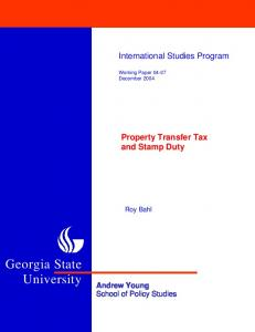 Property Transfer Tax and Stamp Duty