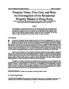 Property Value, User Cost, and Rent: An Investigation of the ...