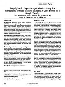Prophylactic Laparoscopic Gastrectomy for Hereditary Diffuse Gastric ...