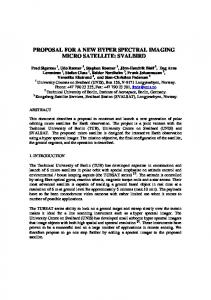 proposal for a new hyper spectral imaging micro satellite ... - CiteSeerX