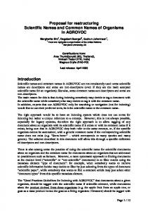 Proposal for restructuring Scientific Names and Common Names of ...