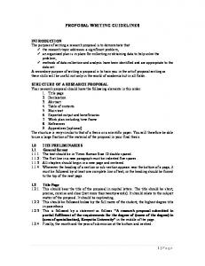 PROPOSAL WRITING GUIDELINES