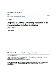 Proposals to Counter Continuing Resistance to the Implementation of ...