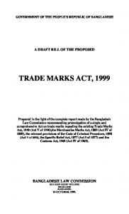 Proposed Bill of the Trade Marks Act, 1999 - Law Commission