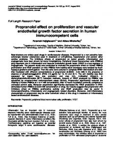 Propranolol effect on proliferation and vascular ... - Academic Journals