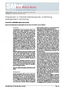 Propranolol in infantile haemangioma - Swiss Medical Weekly