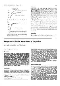 Propranolol in the Treatment of Migraine - Europe PMC