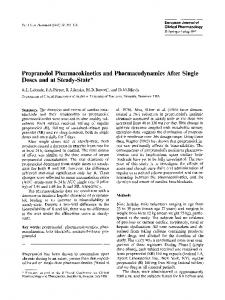 Propranolol pharmacokinetics and pharmacodynamics ... - Springer Link