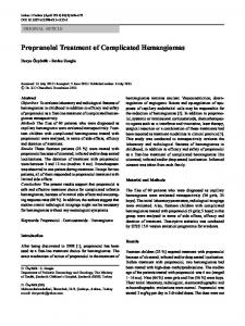 Propranolol Treatment of Complicated Hemangiomas - Springer Link