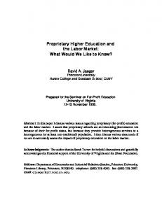 Proprietary Higher Education and the Labor Market ... - David A. Jaeger