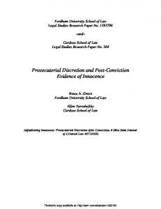 Prosecutorial Discretion and Post-Conviction Evidence of Innocence