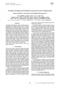 Prosodic Parameters and Prosodic Structures of