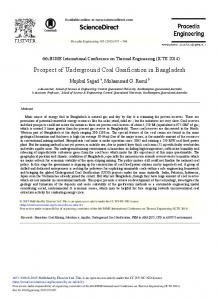 Prospect of Underground Coal Gasification in Bangladesh - Core