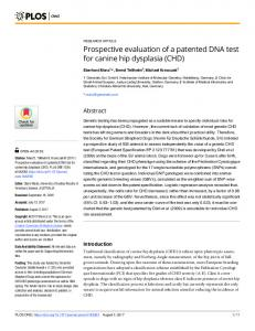 Prospective evaluation of a patented DNA test for canine hip dysplasia ...