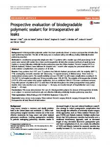 Prospective evaluation of biodegradable polymeric ... - Semantic Scholar