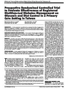 Prospective Randomized Controlled Trial to Evaluate ... - Diabetes Care