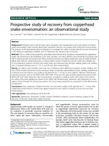 Prospective study of recovery from copperhead snake envenomation ...
