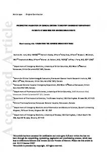 Prospective validation of clinical criteria to ... - Wiley Online Library