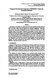 Prospects for Economic Integration of BIMSTEC: Trade and ... - SERSC