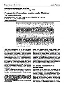 Prospects for Personalized Cardiovascular Medicine - JACC