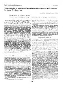 Prostaglandin A1 Metabolism and Inhibition of Cyclic AMP Extrusion