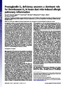Prostaglandin E2 deficiency uncovers a dominant role for ... - PNAS