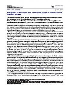 Prostaglandin E2 that triggers fever is synthesized