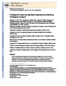 Prostaglandin signaling regulates ciliogenesis by modulating ...
