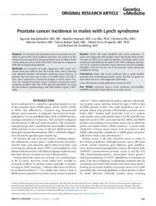 Prostate cancer incidence in males with Lynch syndrome - Nature