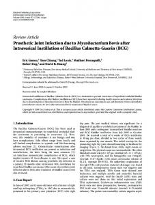 Prosthetic Joint Infection due to Mycobacterium bovis after Intravesical ...