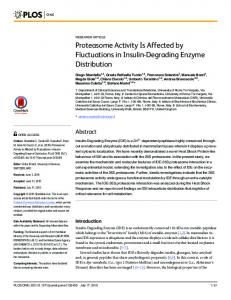 Proteasome Activity Is Affected by Fluctuations in ... - Semantic Scholar