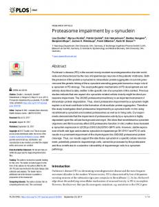 Proteasome impairment by #_#x03B1;-synuclein - Semantic Scholar