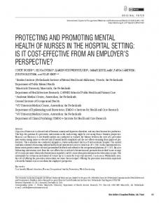protecting and promoting mental health of nurses in the hospital