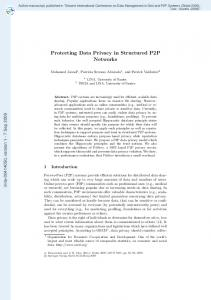 Protecting Data Privacy in Structured P2P Networks - Mohamed JAWAD