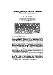 Protecting Information Sharing in Distributed ... - Semantic Scholar