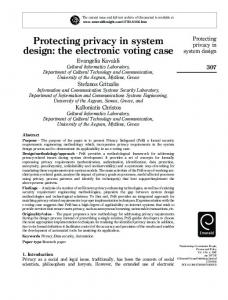Protecting privacy in system design: the electronic ... - Semantic Scholar