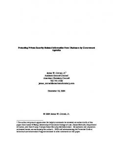 Protecting Private Security-Related Information from Disclosure by ...