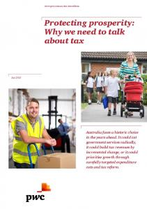 Protecting prosperity: Why we need to talk about tax - PwC